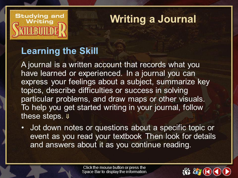 Writing a Journal Learning the Skill