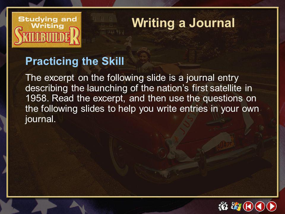 Writing a Journal Practicing the Skill