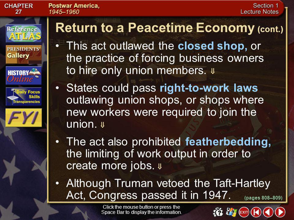 Return to a Peacetime Economy (cont.)