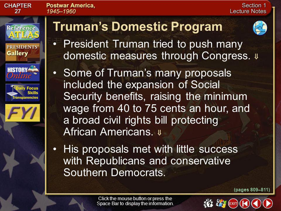 Truman's Domestic Program