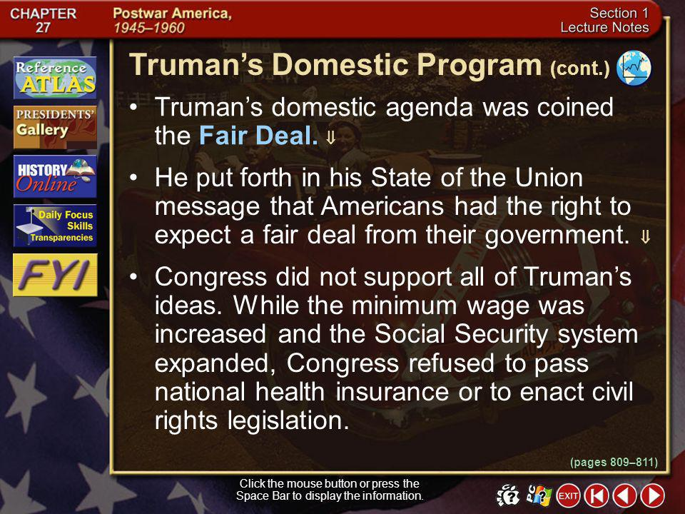 Truman's Domestic Program (cont.)
