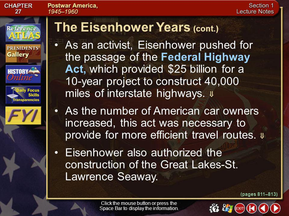 The Eisenhower Years (cont.)