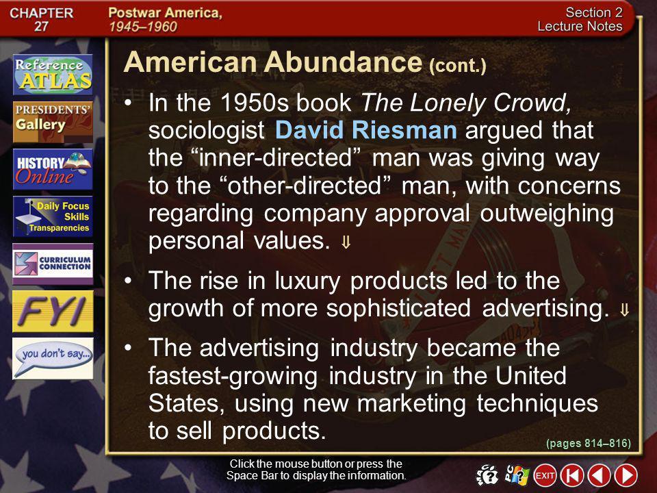 American Abundance (cont.)