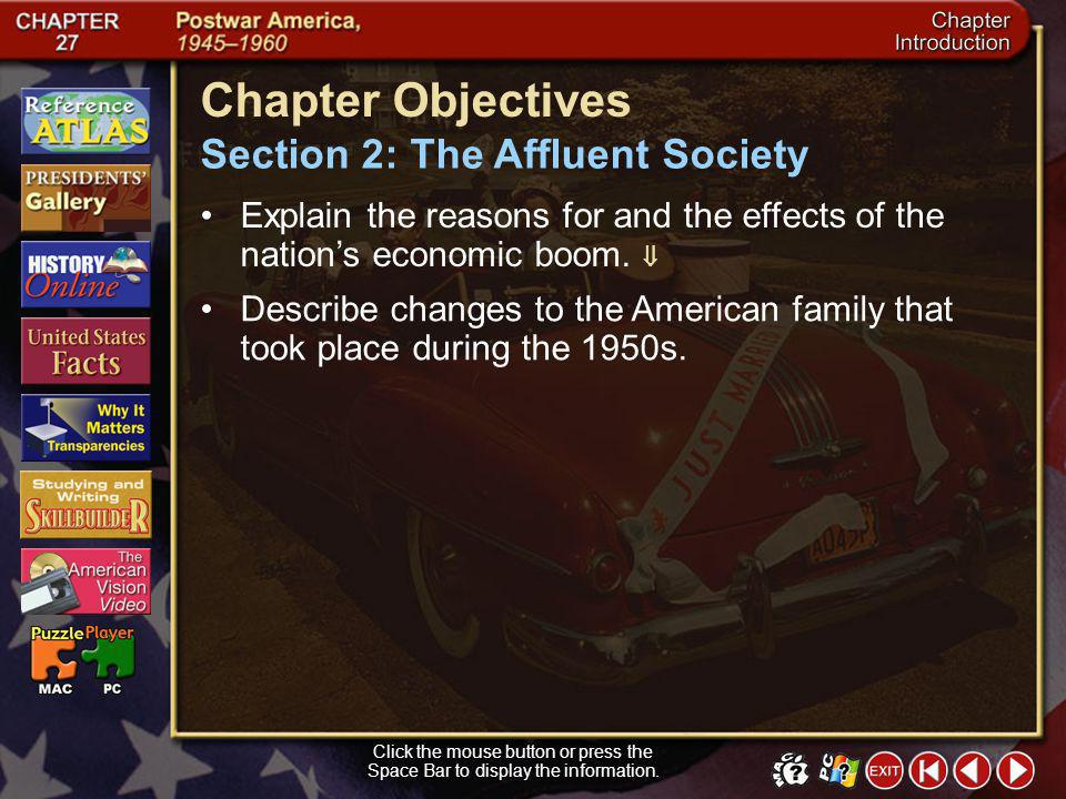 Chapter Objectives Section 2: The Affluent Society