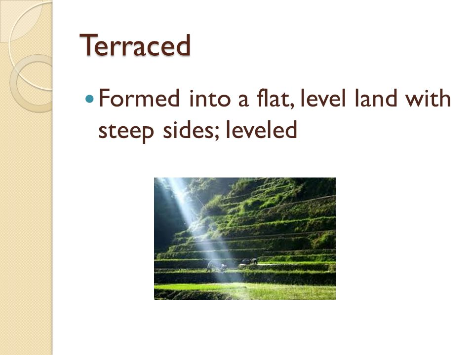 Terraced Formed into a flat, level land with steep sides; leveled