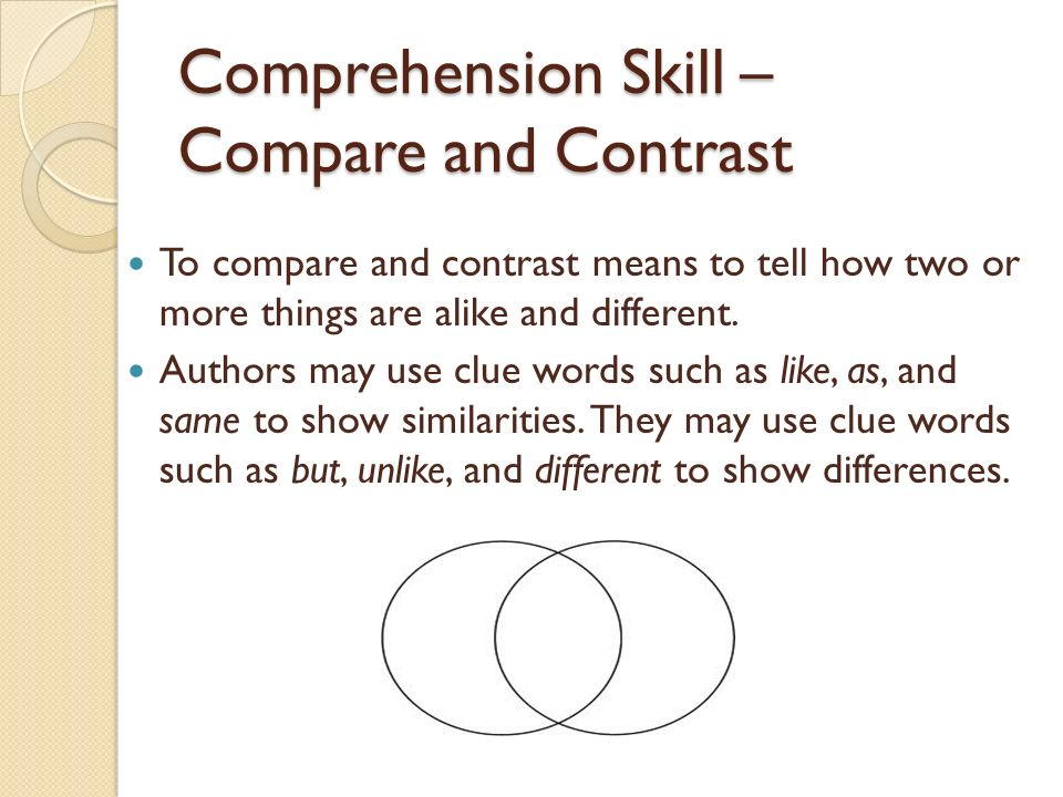 Comprehension Skill – Compare and Contrast