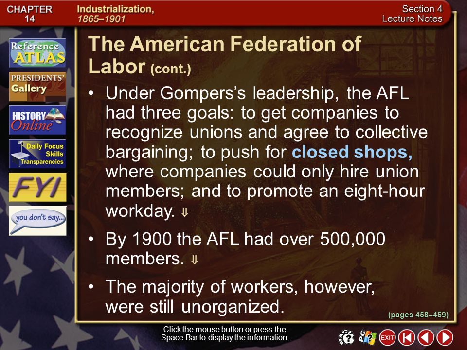 The American Federation of Labor (cont.)