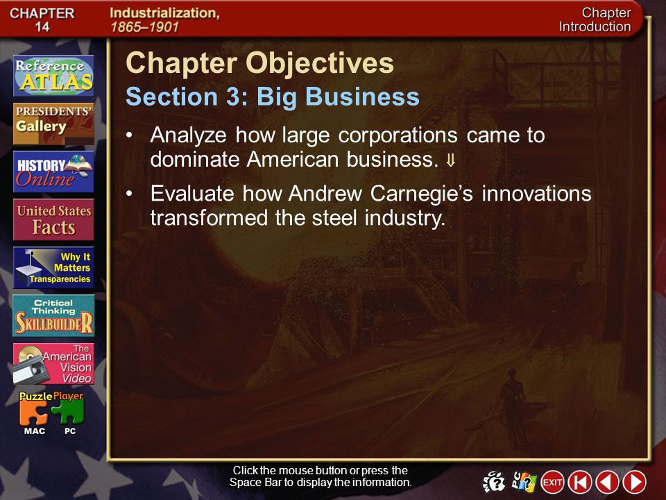 Chapter Objectives Section 3: Big Business