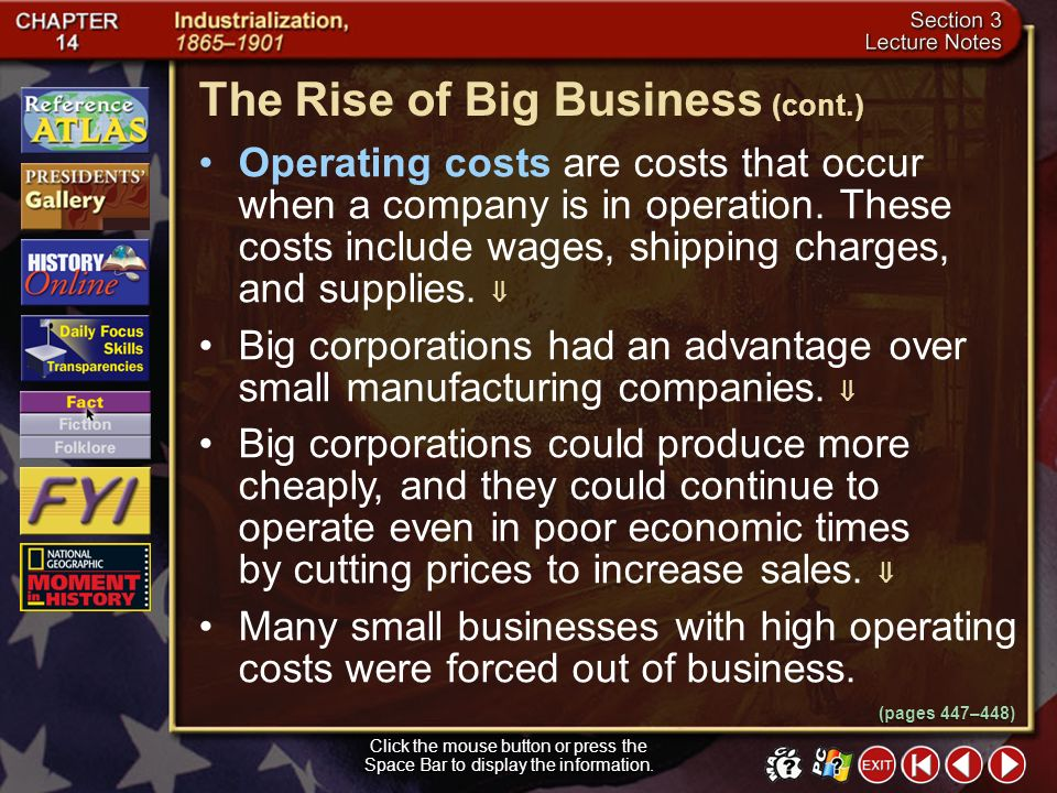 The Rise of Big Business (cont.)