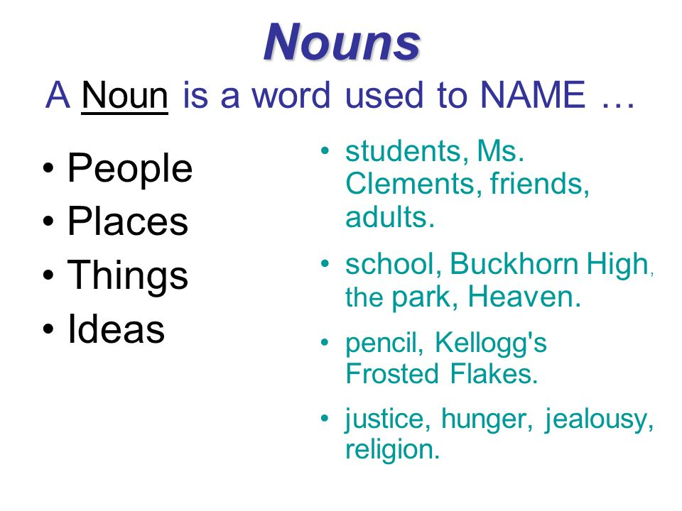 Nouns A Noun is a word used to NAME …