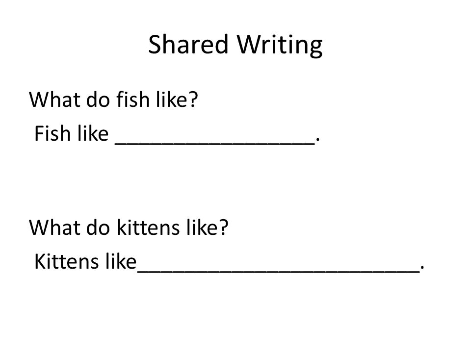 Shared Writing What do fish like Fish like _________________.