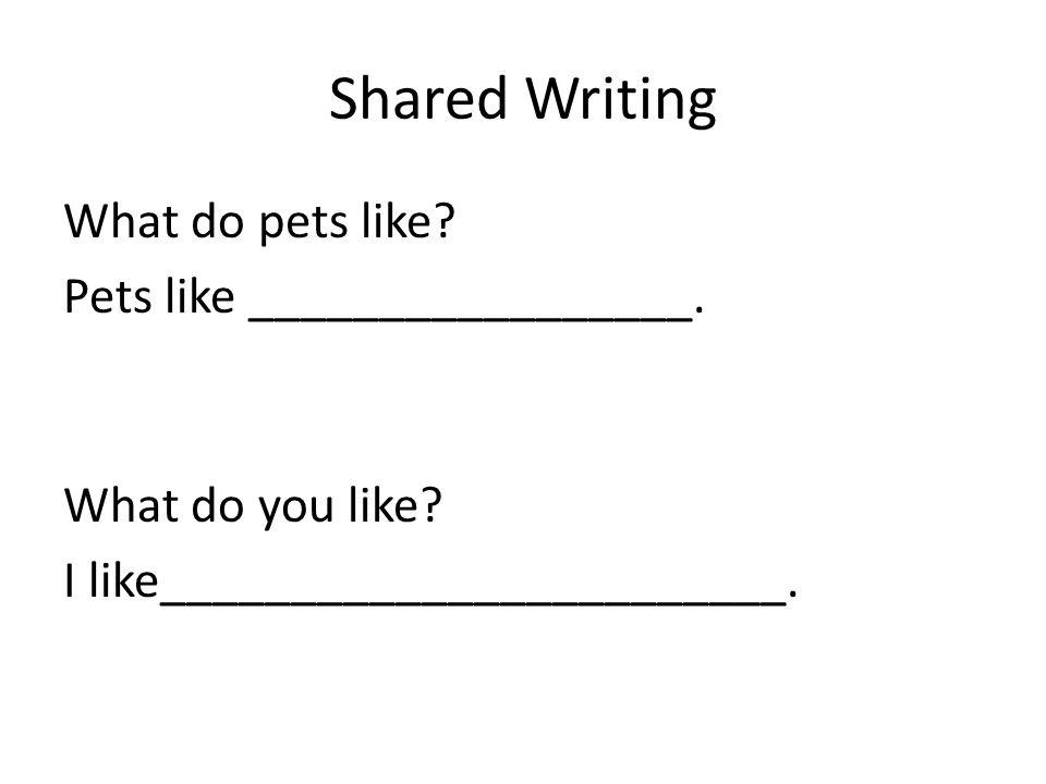 Shared Writing What do pets like Pets like _________________.