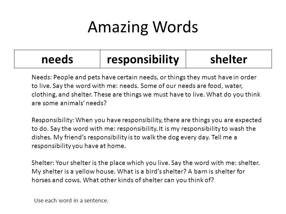 Amazing Words needs responsibility shelter