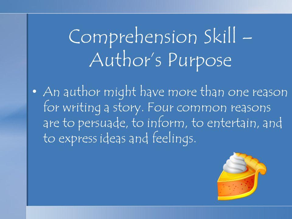 Comprehension Skill – Author's Purpose