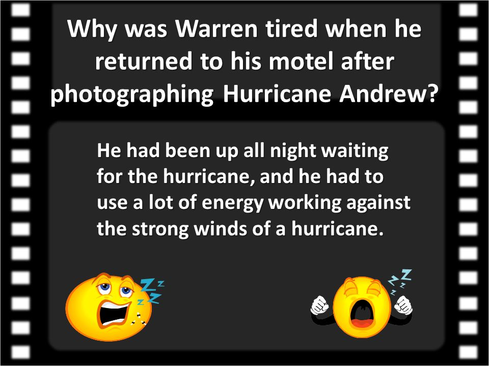 Why was Warren tired when he returned to his motel after photographing Hurricane Andrew