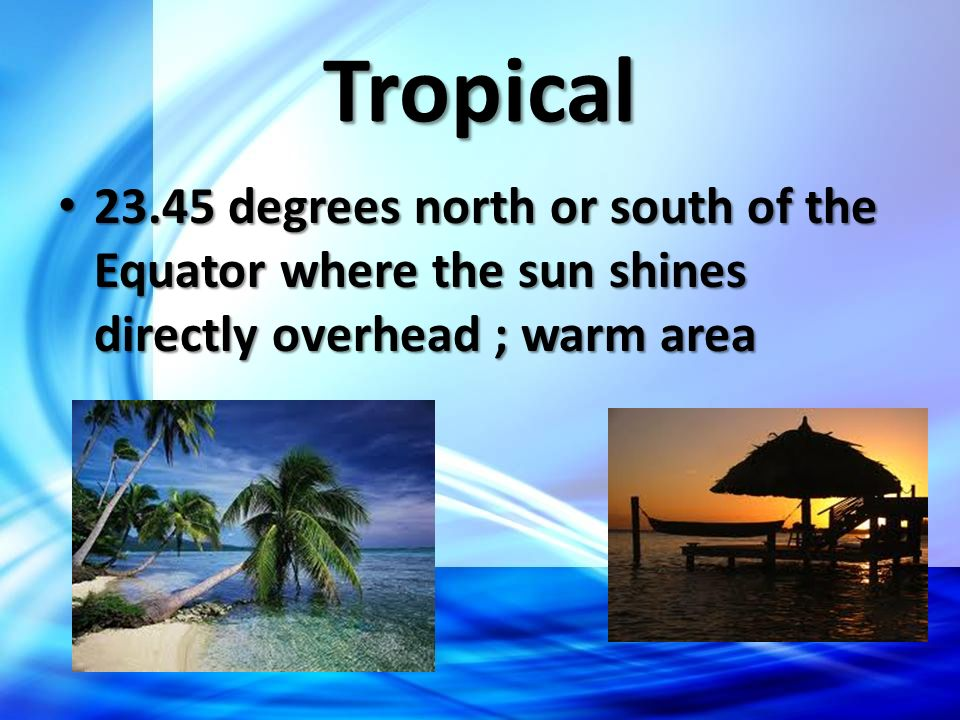 Tropical 23.45 degrees north or south of the Equator where the sun shines directly overhead ; warm area.