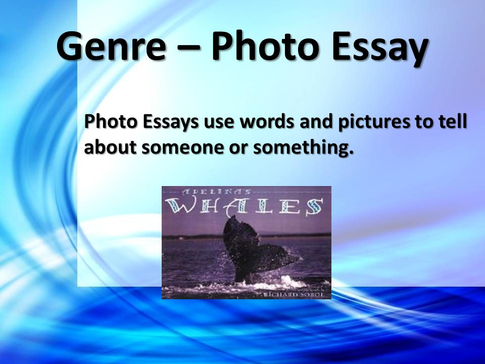 Genre – Photo Essay Photo Essays use words and pictures to tell about someone or something.