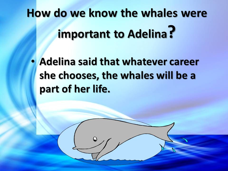 How do we know the whales were important to Adelina