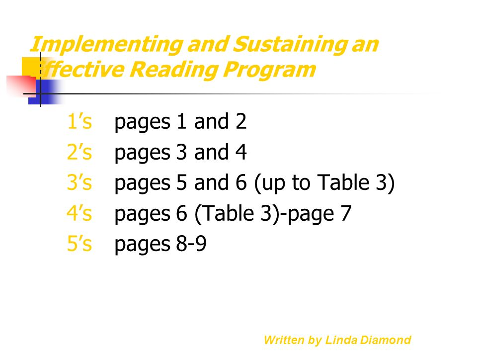 Implementing and Sustaining an Effective Reading Program