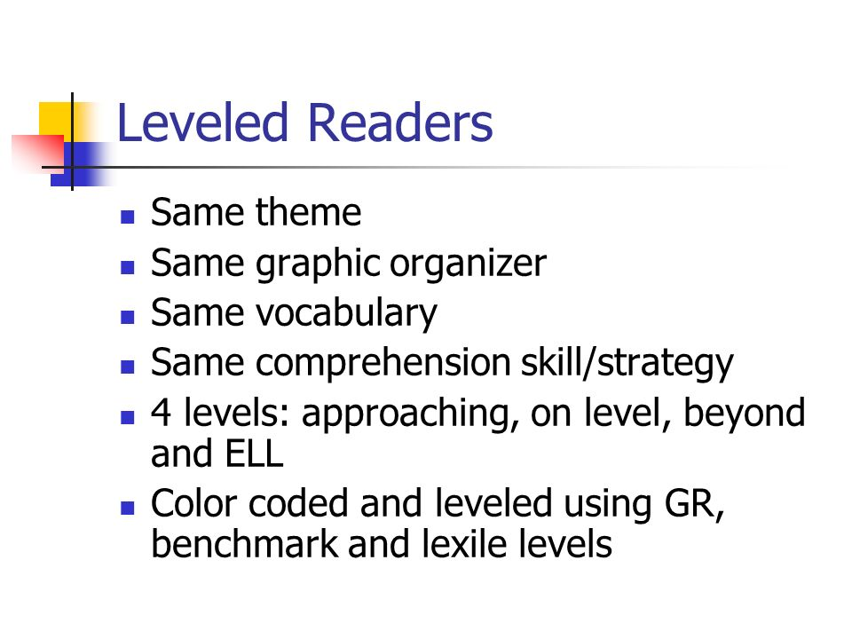Leveled Readers Same theme Same graphic organizer Same vocabulary