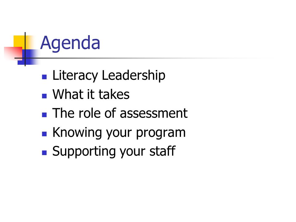 Agenda Literacy Leadership What it takes The role of assessment