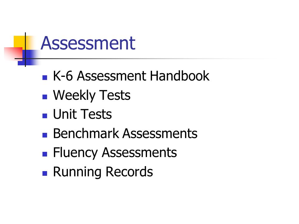 Assessment K-6 Assessment Handbook Weekly Tests Unit Tests