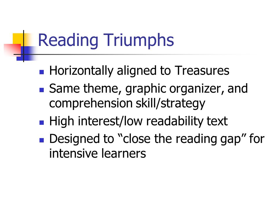 Reading Triumphs Horizontally aligned to Treasures