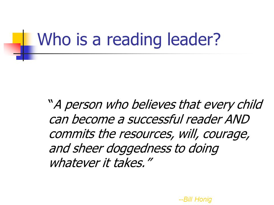 Who is a reading leader