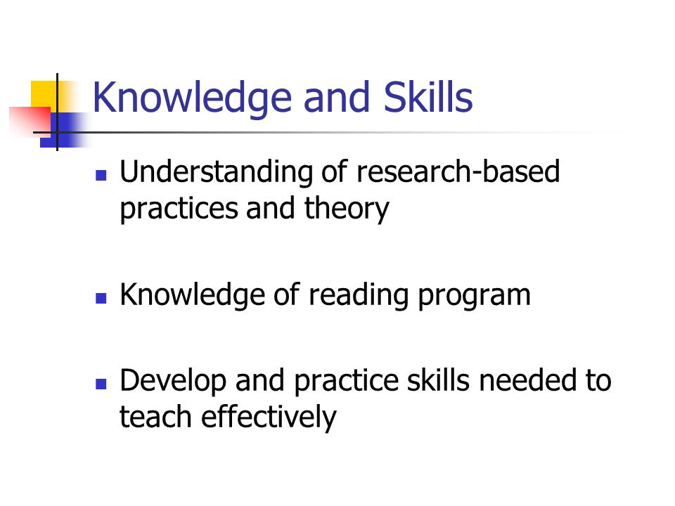 Knowledge and Skills Understanding of research-based practices and theory. Knowledge of reading program.