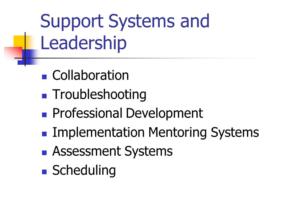 Support Systems and Leadership