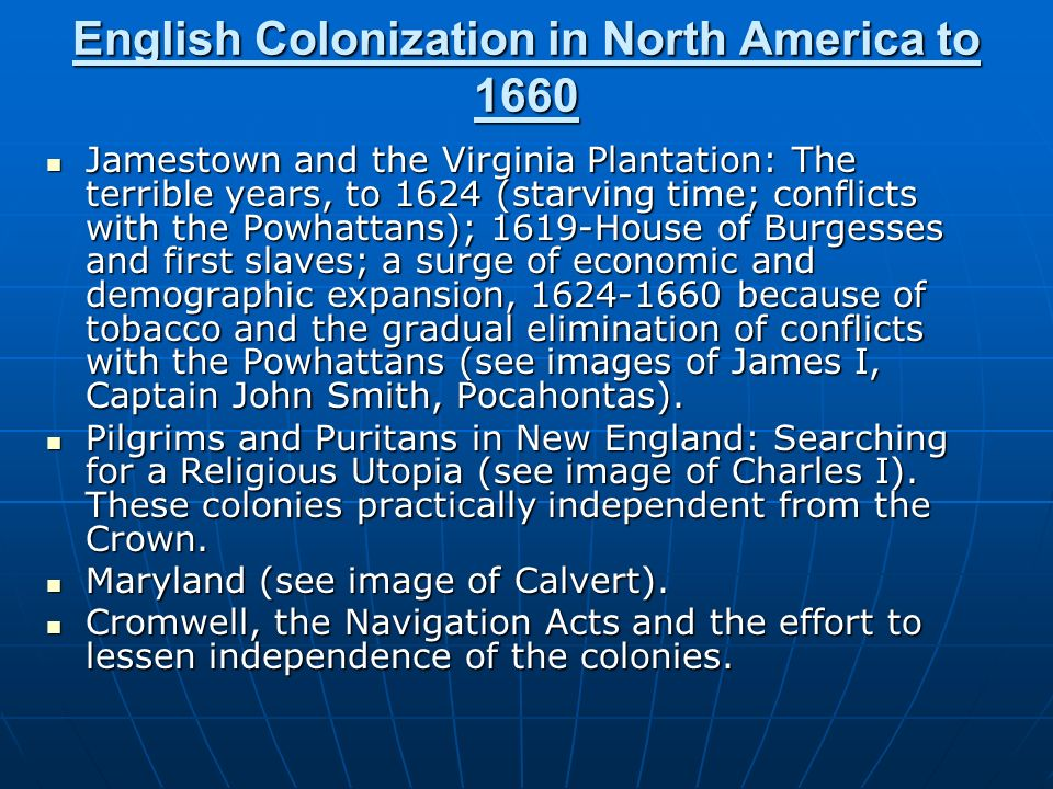 English Colonization in North America to 1660