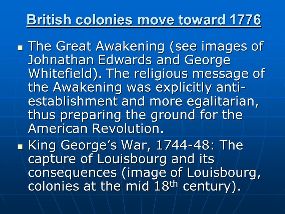 British colonies move toward 1776