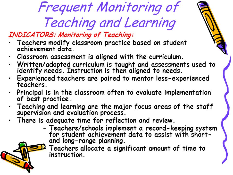 Frequent Monitoring of Teaching and Learning