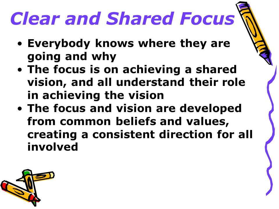 Clear and Shared Focus Everybody knows where they are going and why