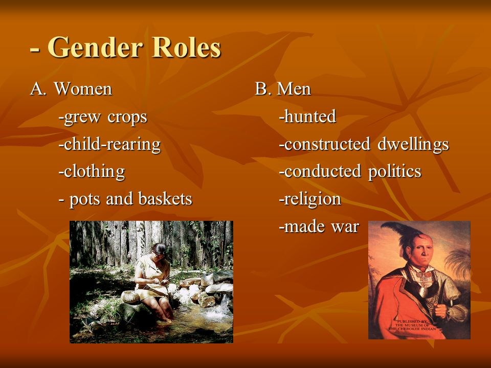 - Gender Roles A. Women -grew crops -child-rearing -clothing