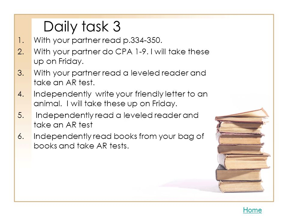 Daily task 3 With your partner read p.334-350.