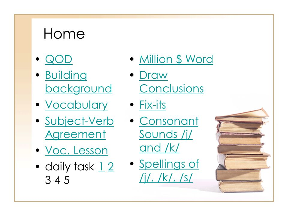 Home QOD Building background Vocabulary Subject-Verb Agreement