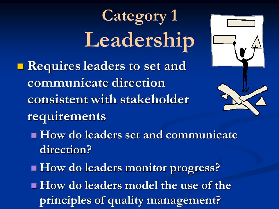 Category 1 Leadership Requires leaders to set and communicate direction consistent with stakeholder requirements.