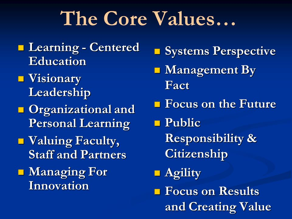 The Core Values… Learning - Centered Education Systems Perspective