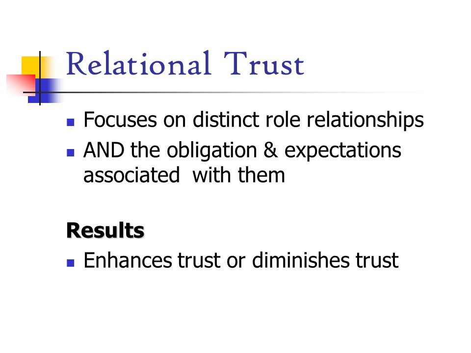 Relational Trust Focuses on distinct role relationships