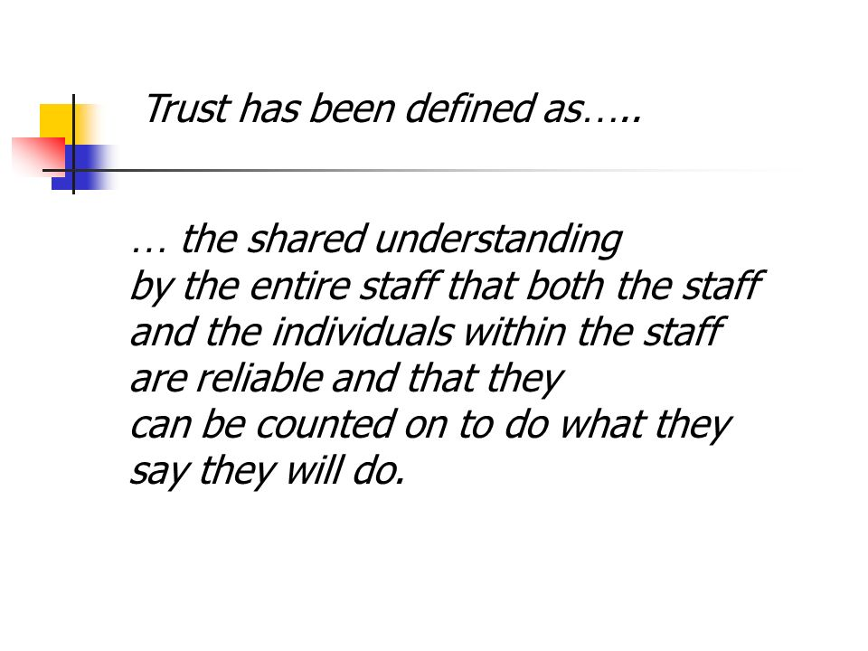 Trust has been defined as…..