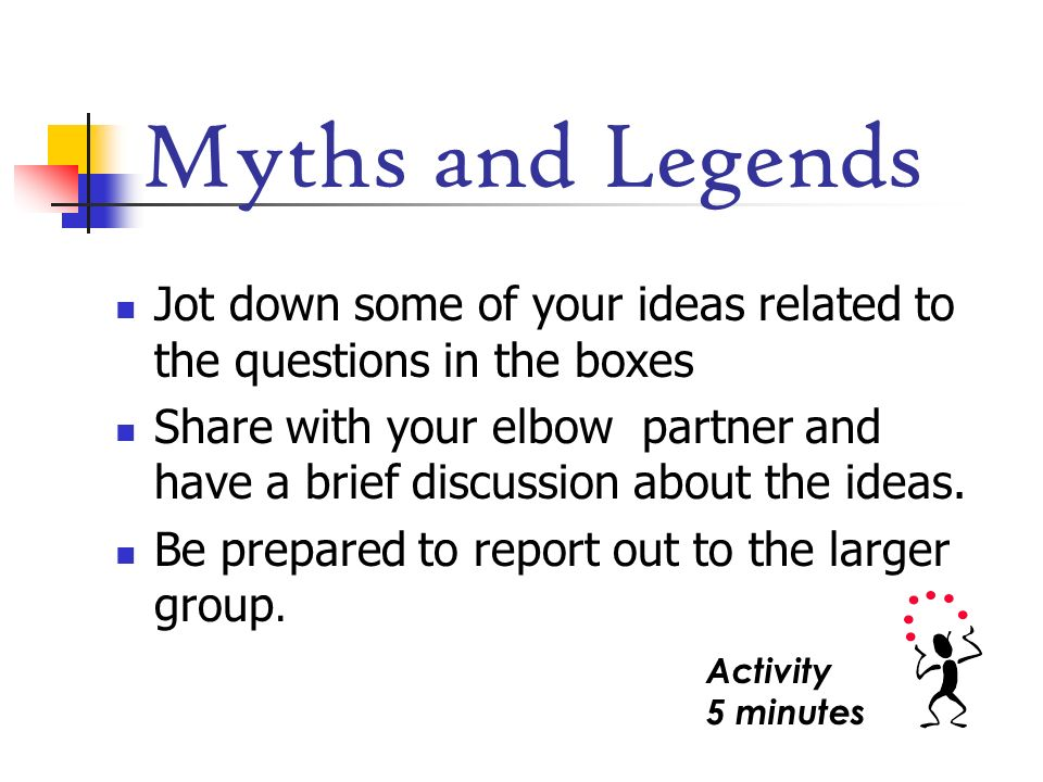 Myths and Legends Jot down some of your ideas related to the questions in the boxes.