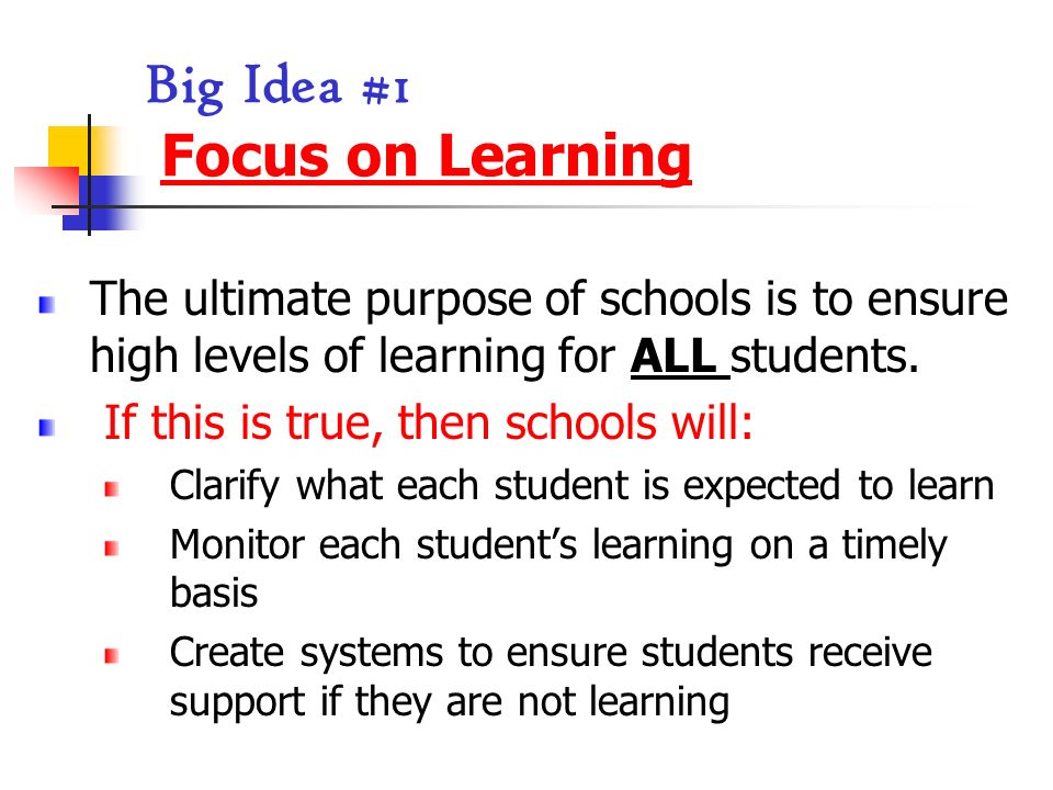 Big Idea #1 Focus on Learning