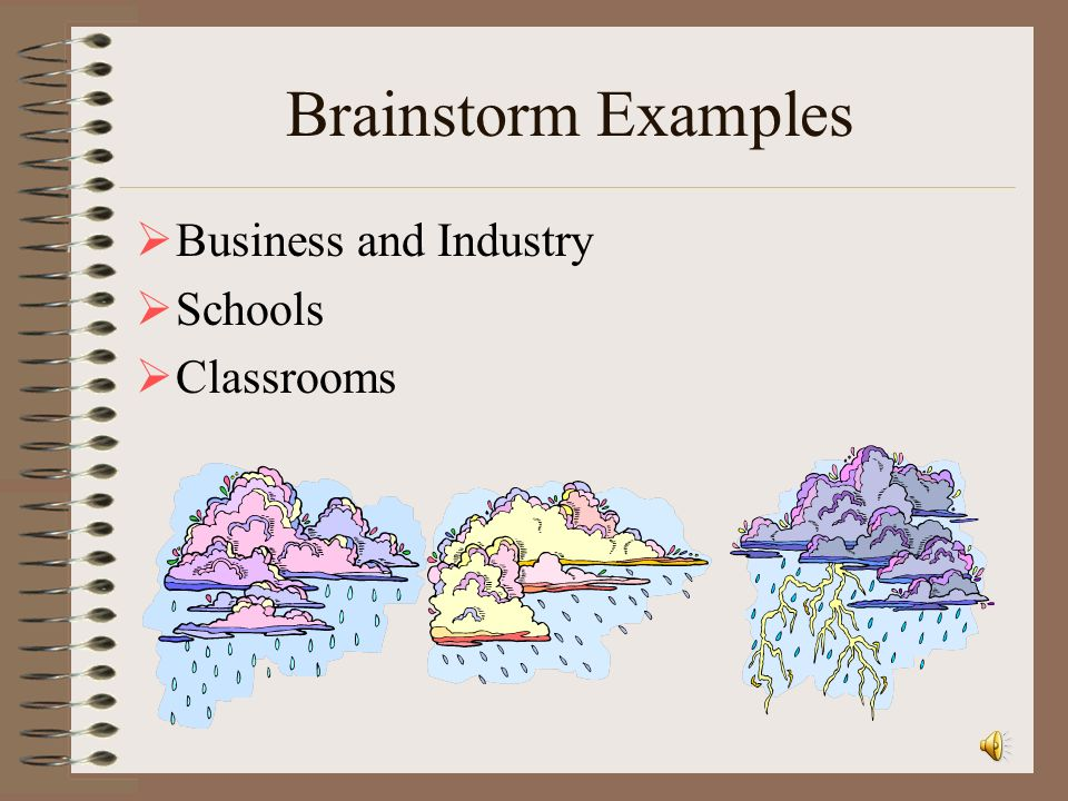 Brainstorm Examples Business and Industry Schools Classrooms