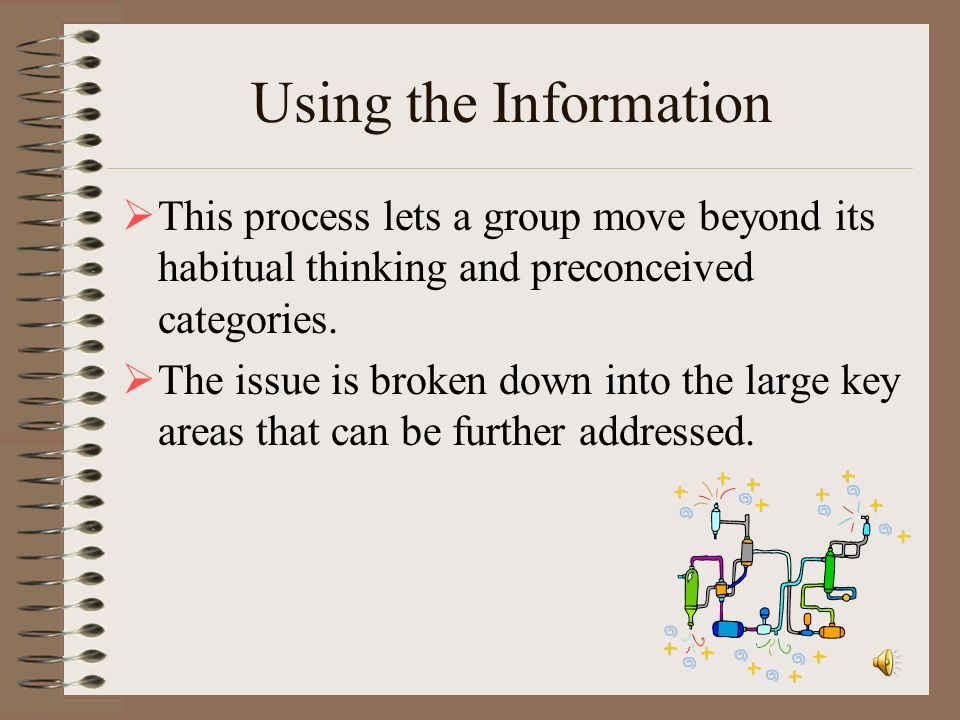 Using the Information This process lets a group move beyond its habitual thinking and preconceived categories.