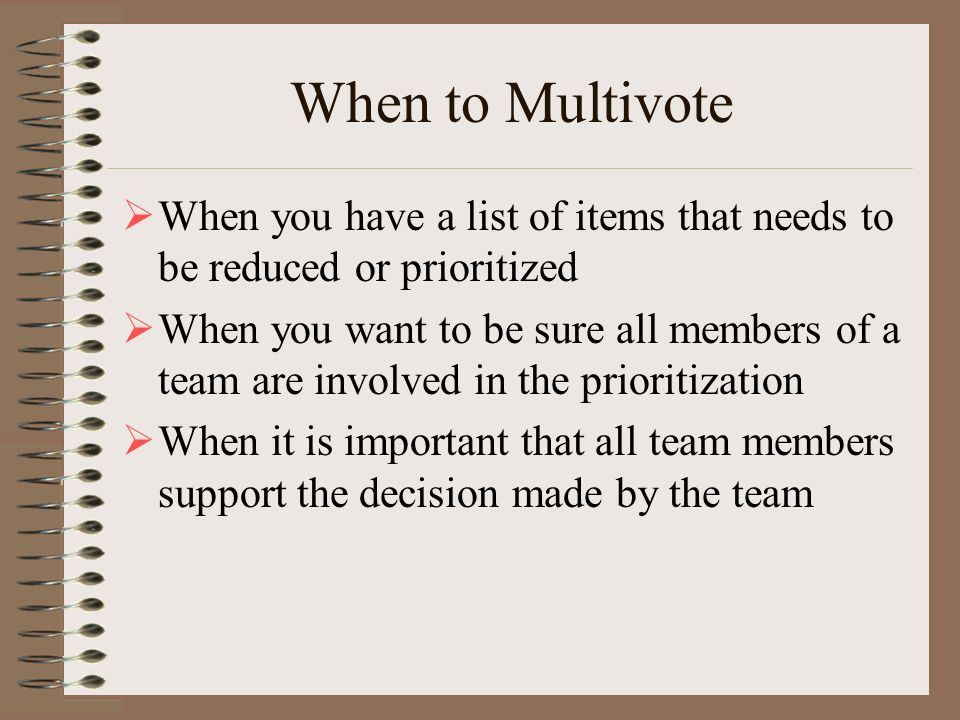 When to Multivote When you have a list of items that needs to be reduced or prioritized.
