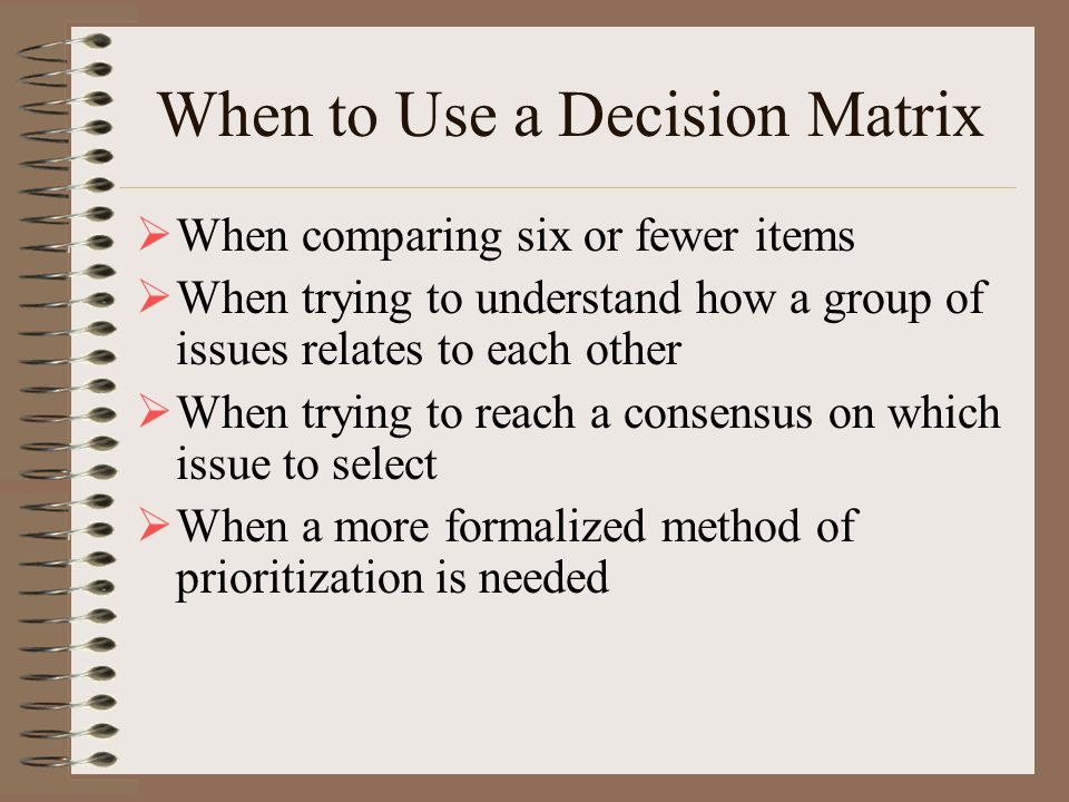 When to Use a Decision Matrix