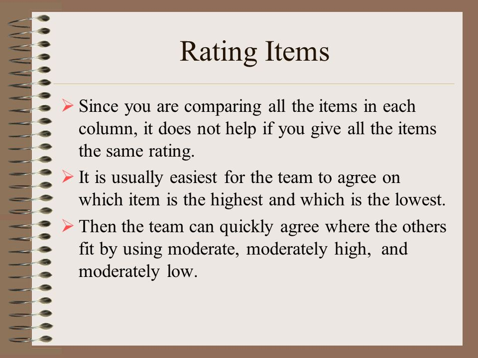 Rating Items Since you are comparing all the items in each column, it does not help if you give all the items the same rating.
