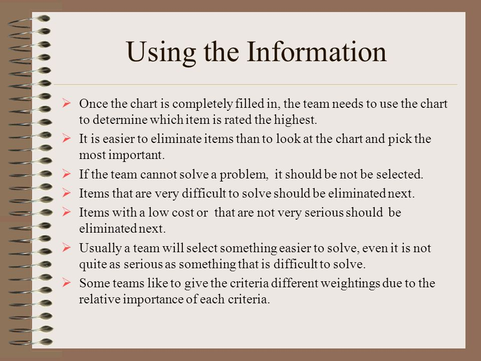Using the Information Once the chart is completely filled in, the team needs to use the chart to determine which item is rated the highest.
