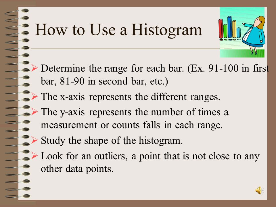 How to Use a Histogram Determine the range for each bar. (Ex. 91-100 in first bar, 81-90 in second bar, etc.)